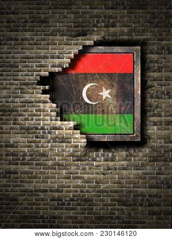 3d Rendering Of A Libya Flag Over A Rusty Metallic Plate Embedded On An Old Brick Wall