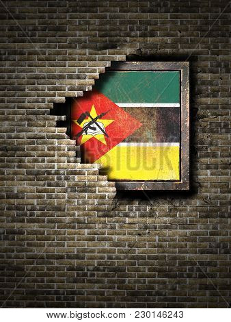 3d Rendering Of A Republic Of Mozambique Flag Over A Rusty Metallic Plate Embedded On An Old Brick W
