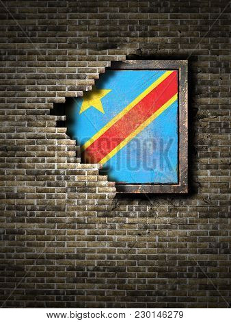 3d Rendering Of A Democratic Republic Of Congo Flag Over A Rusty Metallic Plate Embedded On An Old B