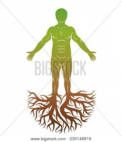 Vector Human, Individuality Created With Tree Roots. Family Tree, Tree Of Life Conceptual Graphic Il