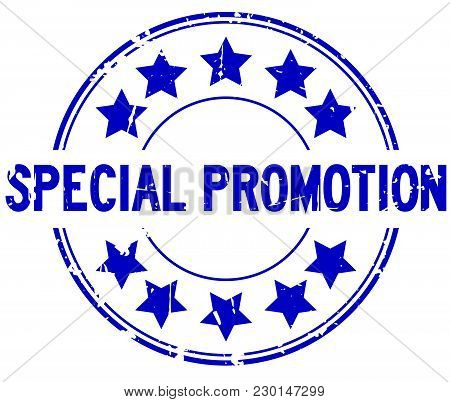 Grunge Blue Special Promotion With Star Icon Round Rubber Stamp On White Background