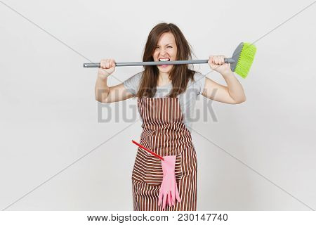 Young Fun Crazy Dizzy Loony Wild Aggressive Housewife With Tousled Hair In Striped Apron, Squeegee P