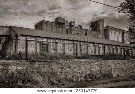 Old Brick Elevator. Old Buildings. Vintage Style. Retro Effect. Grunge Architecture. Black And White