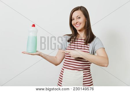 Housewife In Striped Apron Looking Camera Isolated On White Background Housekeeper Woman Pointing In