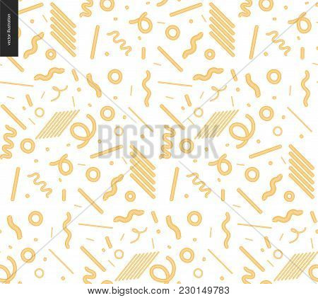 Italian Restaurant Set - Pasta Seamless Pattern On The Transparent Background