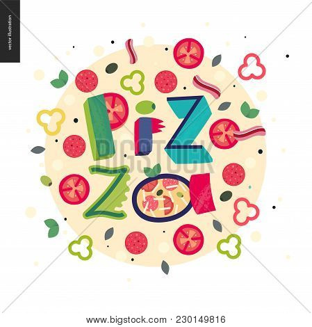 Italian Restaurant Set - Pizza And Lettering Pizza