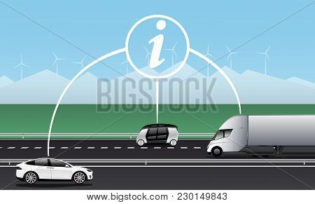 Vehicle To Vehicle Communication. Data Exchange Between Self Driving Cars. Vector Illustration