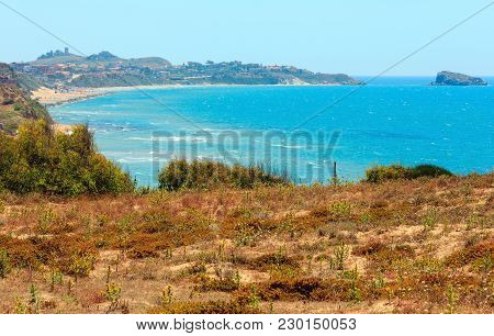 Paradise Sea Bay With Azure Water And Beach View From Coastline, Torre Di Gaffe, Agrigento, Sicily,