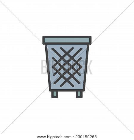 Trash Bin Filled Outline Icon, Line Vector Sign, Linear Colorful Pictogram Isolated On White. Recycl