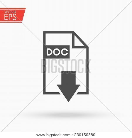 Download Document File Button. Doc Download Vector Icon. Simple Flat Pictogram For Business, Marketi
