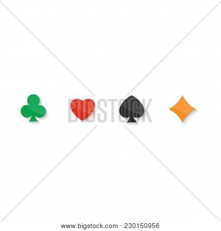 Set Of Playing Cards Icon. Vector Eps 10 Illustration Symbols Isolated On White Background