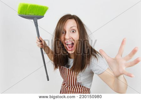 Young Fun Crazy Dizzy Loony Wild Aggressive Housewife Tousled Hair In Striped Apron Pink Gloves In P