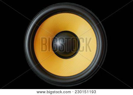 Subwoofer Dynamic Membrane Or Sound Speaker Isolated On Black Background, Yellow Hi-fi Loudspeaker C