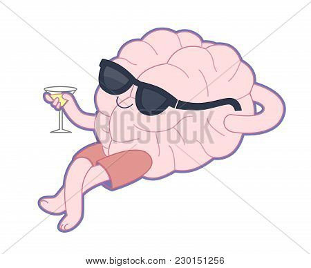 Relaxing With A Glass Of Alcohol Drink Flat Cartoon Vector Illustration - A Brain Lying With A Glass