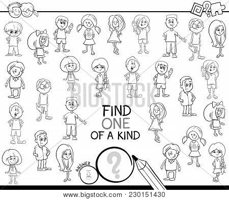 One Of A Kind Game With Children Coloring Page