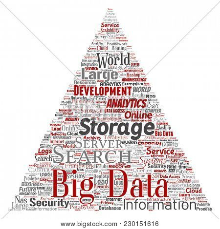 Conceptual big data large size storage systems triangle arrow word cloud isolated background. Collage of search analytics world information, nas development, future internet mobility concept poster