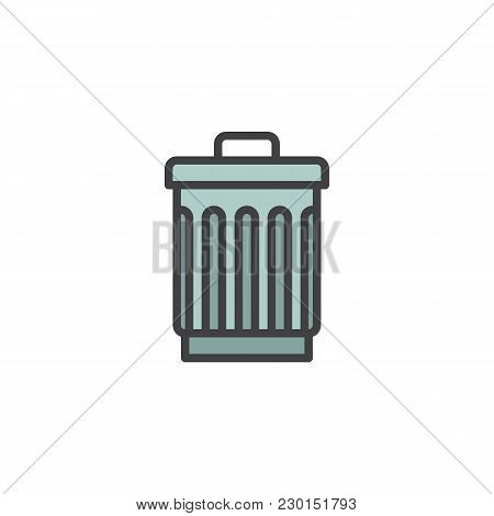 Trash Can Filled Outline Icon, Line Vector Sign, Linear Colorful Pictogram Isolated On White. Bin, D