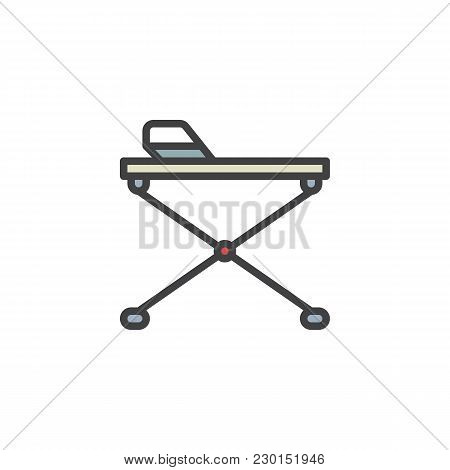 Ironing Board Filled Outline Icon, Line Vector Sign, Linear Colorful Pictogram Isolated On White. Ir