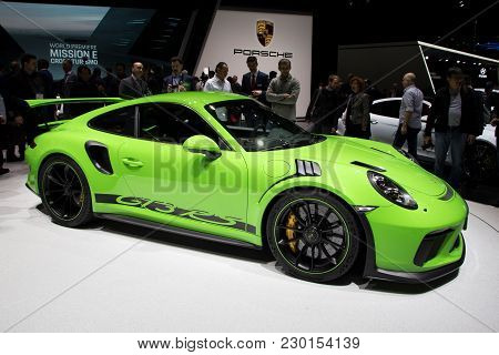 Geneva, Switzerland - March 6, 2018: Porsche 911 Gt3 Rs Sports Car Presented At The 88th Geneva Inte