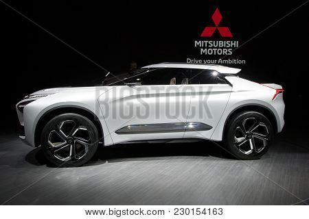Geneva, Switzerland - March 6, 2018: Mitsubishi E-volution Concept Car Presented At The 88th Geneva