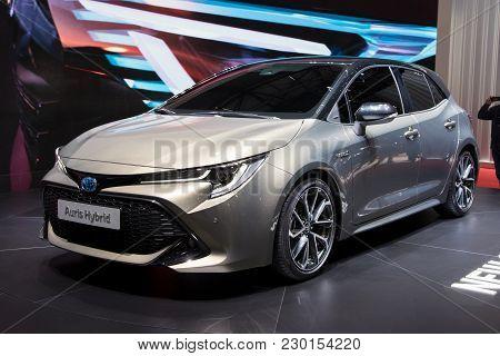 Geneva, Switzerland - March 6, 2018: New 2018 Toyota Auris Hybrid Presented At The 88th Geneva Inter