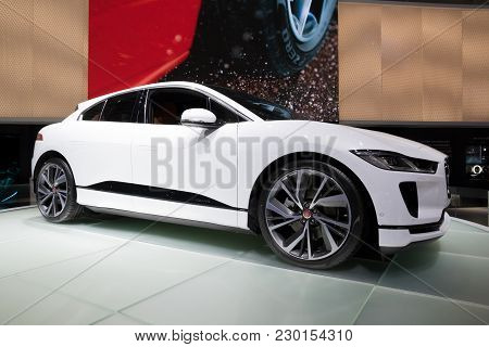 Geneva, Switzerland - March 6, 2018:  Jaguar I-pace Electric Suv Car Presented At The 88th Geneva In