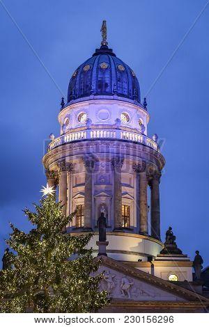 German Church And  Gendarmenmarkt Christmas Market In Gendarmenmarkt Square, Berlin City, Germany