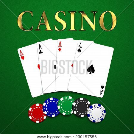 Casino Chips And Cards On Green Background