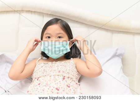 Sick Girl Wear Protection Mask To Protect Virus
