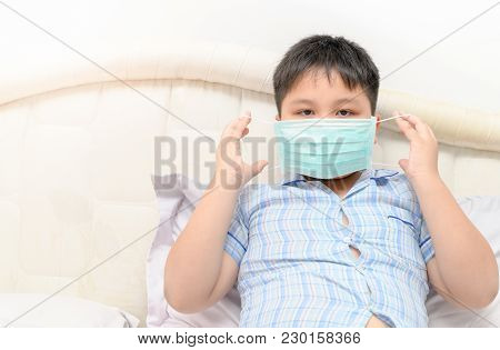 Obese Fat Boy Wear Protection Mask To Protect