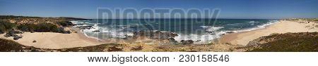 Stitching Of Several Photos Crating A Wide Panorama Of Malhao Beach Near Vila Nova De Milfontes. Blu