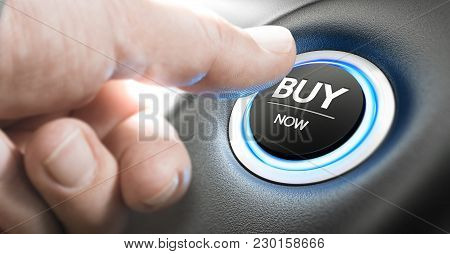 Man Pushing A Car Start Button With The Text Buy Now. Call For Action Concept. Composite Image Betwe