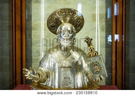 Bari, Italy - May 6, 2017: Old Town, The Silver Bust Of The Saint In The Chapel Of The Relics In The