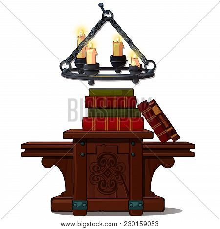 The Chandelier Is On A Chain And A Wooden Table With Books. Medieval Interior. Vector.