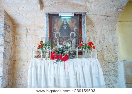 Bari, Italy - May 6, 2017: A Sacred Tabernacle In An Alley Of The Old Townld Town,
