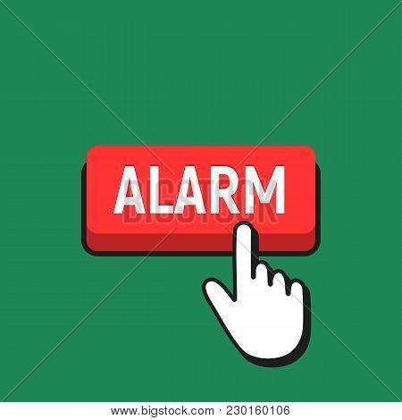 Hand Mouse Cursor Clicks The Alarm Button.