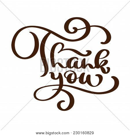 Thank You Text Handwritten Inscription. Hand Drawn Lettering. Thank You Calligraphy. Thank You Card.