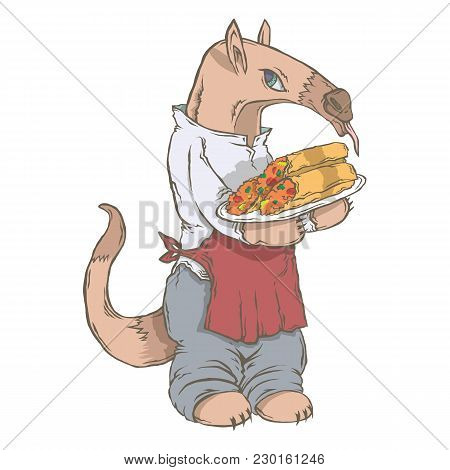 Vector Isolated Image Of The Character Of The Animal Cook. National Cuisine. Gastronomy. Anteater, M