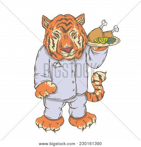 Vector Isolated Image Of The Character Of The Animal Cook. National Cuisine. Gastronomy. Tiger, Indi