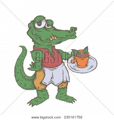 Vector Isolated Image Of The Character Of The Animal Cook. National Cuisine. Gastronomy. Crocodile,