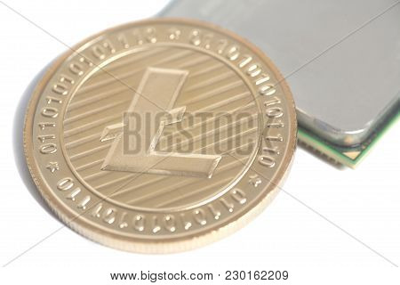 Central Processing Unit Cpu Microchip With Golden Litecoin On White Background