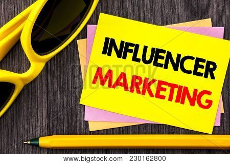 Conceptual Hand Text Showing Influancer Marketing. Business Photo Showcasing Social Media Online Inf