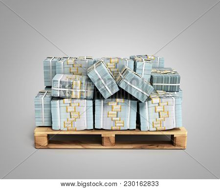 Stack Of Dollar Money Bills On Wooden Pallet 3d Render On Grey Background