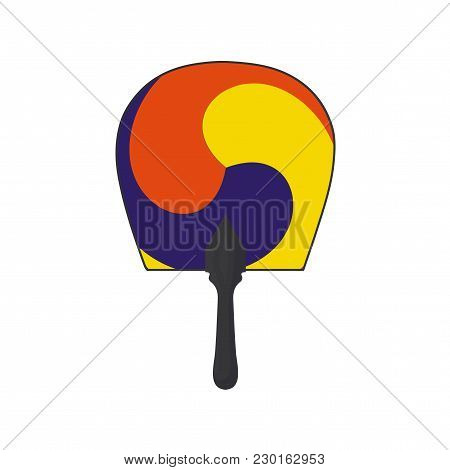 Vector Illustration For Korean Community: Traditional Round Hand Fan With A Three-color Taegeuk Symb