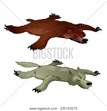 Bear Skin And Wolf Isolated On White Background. Vector Cartoon Close-up Illustration.