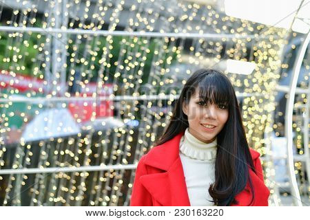 Christmas And New Year Concept, Beautiful Girls Are Happy To Celebrate Christmas And New Year. Asian