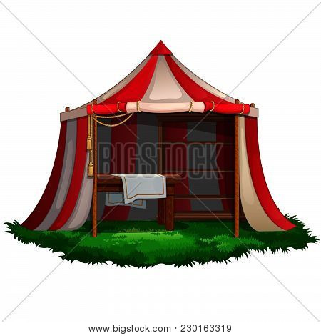 Striped Tent On A Green Meadow. Vector.