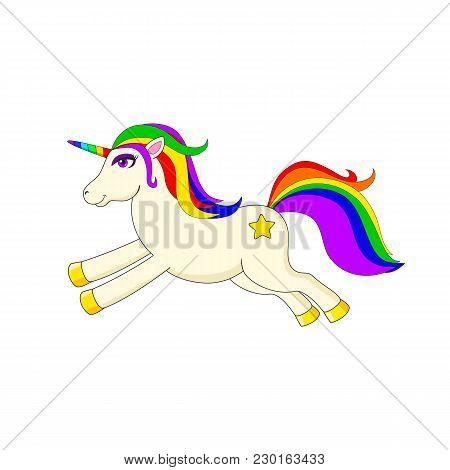 White Running Unicorn With Multicolored Mane And Horn. Cute Magic Cartoon Fantasy Cute Animal. Dream
