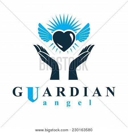 Loving Heart In Human Hands, Giving Aid Metaphor. Holy Spirit Graphic Vector Logo Best For Use In Ch