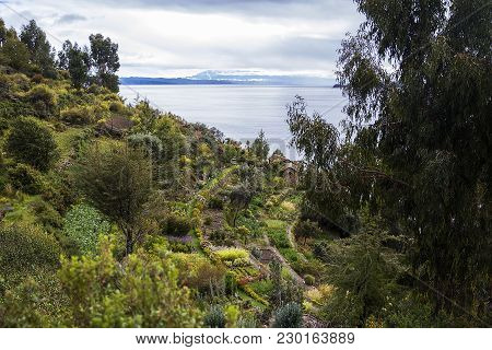 View At Isla Del Sol On Lake Titicaca In Bolivia